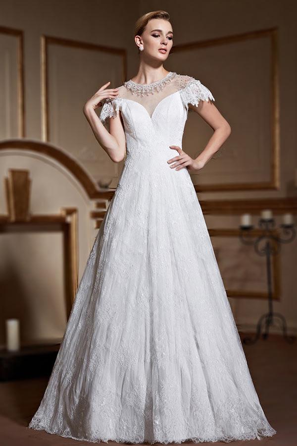 Günstig Schlicht A-Linie weiß Spitze Brautkleider mit