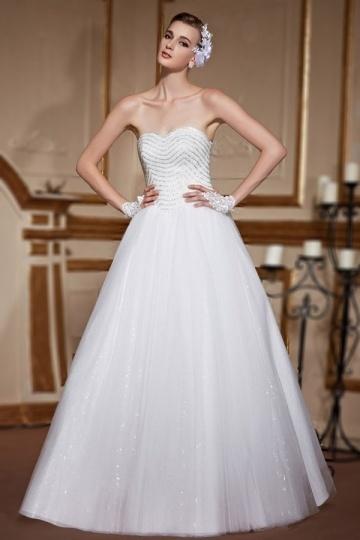 2016 Sweetheart Tüll A-Linie Brautkleider mit Perlen verziert Persun