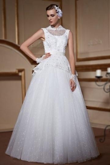 Modern A Line  High Neck Sleeveless Beading Lace Wedding Dress