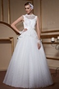 Modern High Neck Sleeveless A Line Lace Up Lace Wedding Dress