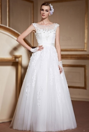 Chic A Line Bateau Appliques Lace Up Ivory Tulle Wedding Dress