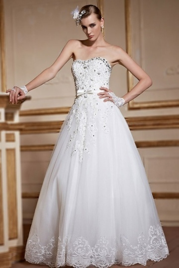 Sexy A Line Sweetheart Backless beading bow Bridal Gown