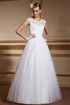 Robe de mariage princesse col dentelle appliquée à jupe en dentelle et tulle brillant