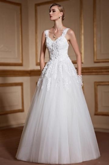 2016 Prinzessin Ivory V-Ausschnitt Brautkleider mit Schnürung Persun