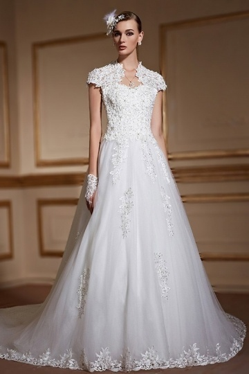 Modern A line High Neck Beading Appliques Short Sleeves Tulle Wedding Dress