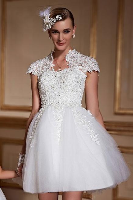 Chic kurz stehkragen spitze a linie brautkleider mit for Loue robe de mariage utah