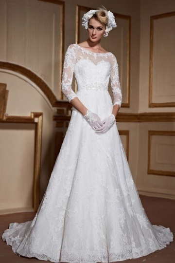 Weddingbuy A Line Bateau 3/4 Sleeves Court Train Lace Bridal Gown