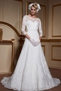 Elegant 3/4 Sleeves Lace Up Court Train Lace Bridal Gown