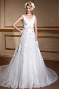 Modern V Neck Sleeveless Lace Up Ivory Wedding Dress