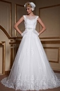 Chic A line Bateau Sleeveless sash Lace Bridal Gown