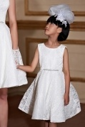 A line Scoop Sleeveless Knee Length Lace Flower Girl Dress