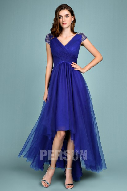 V-neck Royal Blue High Low Formal gown
