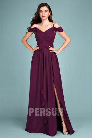 Elegant off shoulder long plum prom dress with slit for wedding party