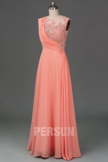 Long Chiffon Bridesmaid Dress in Salmon / Blush Beauty