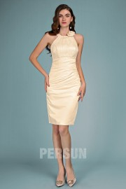 Champagne cocktail dress sheath with flower top in lace