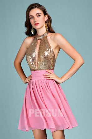 Sexy color block cocktail dress halter top in sequin