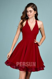 Cute Short Halter Burgundy homecoming dress with lace back