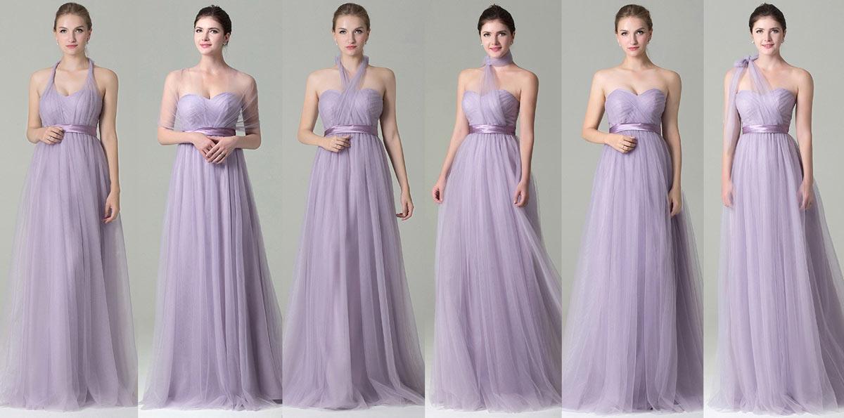 lavendel Brautjungfernkleid mit umwandelbaren Schleier speziell für die Hochzeit Mode Bestseller Kleider 2019 auf Persunkleid