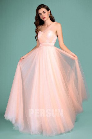 Elegant long peach tulle bridesmaid dress with convertible straps for wedding 2019