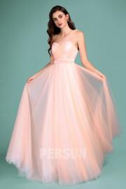 Elegantes Rosarot Tüll langes Brautjungfernkleid mit umwandelbaren Trägern für die Hochzeit 2019