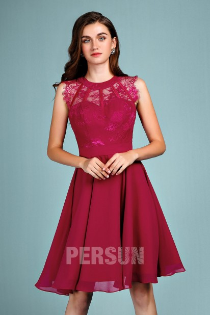 5c7a75cf21a Chic short burgundy prom dress with lace bodice for party EV18066 ...