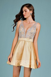 Sexy golden cocktail dress v neck with delicate jewels on top