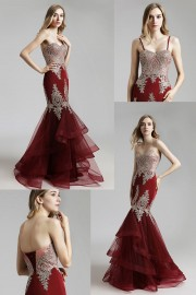 Alluring burgundy Tulle Mermaid prom Dress With golden Lace Appliques
