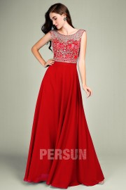 Persun Red Long Sexy Prom dress with sheer back of Crystal Details