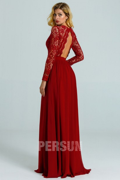 Red Burgundy Evening Dress Long Sleeve Top In Lace for wedding