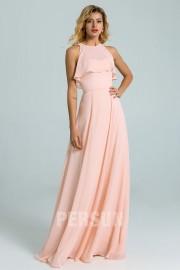 simple Chiffon long pink Bridesmaid Dress With belt