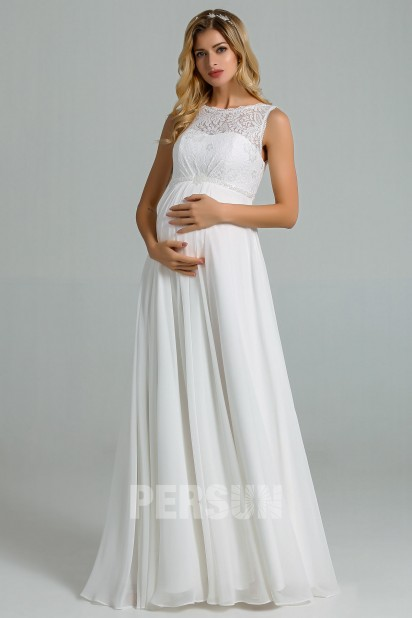 Chantal: Empire ivory maternity wedding dress with lace top