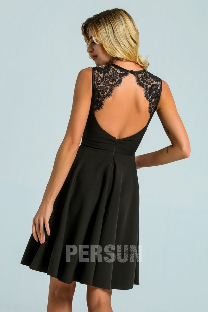 Simple Black Lace Backless jersey Skater cocktail Dress