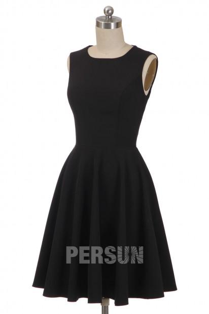 Simple Black Lace Backless jersey Skater cocktail Dress