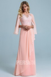 Long bohemian embroidered pink prom dress with cape sleeves