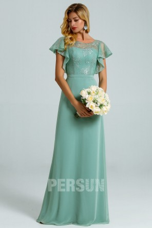 green Mint Chiffon Dress top in lace with Cascading cape Sleeves for evening wedding