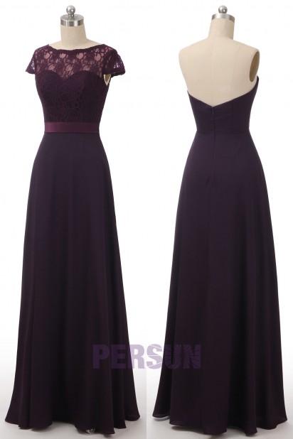 Purple Long Bridesmaid Dress with detachable Lace Cap for Wedding Party