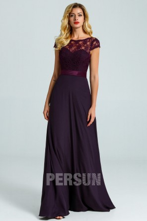 Purple Long Bridesmaid Dress with detachable Lace Cap for Wedding Party