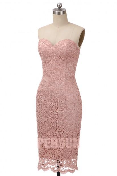 Pale Pink Sheath Knee Length Lace Cocktail Dress