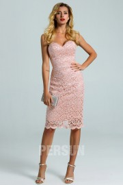 Pale Pink Sheath Knee Length Lace Cocktail Dress