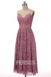 straps v neck pearly purple lace midi prom dress