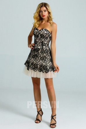 Strapless Mini Black lace Dress with Chanpagne pleated skirt