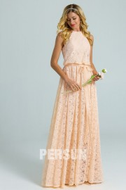 Vintage Inspired halter long lace Bridesmaid Dress for wedding