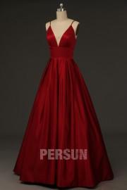 Princess straps V neck long ruby red Satin prom Dress