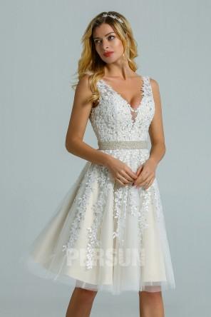 Vintage Short  Lace Beaded Wedding Dress Backless
