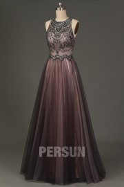 Jewel Neck Tulle Long grey pink Prom Formal Dress with Beads