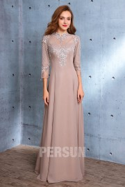 Vintage long evening dress top in lace style baroque with sleeves