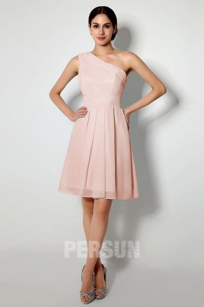 short Pale pink one shoulder bridesmaid dress for wedding