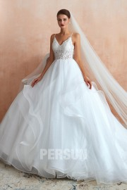 Nadja: princess wedding dress top in lace with spaghetti straps fancy skirt
