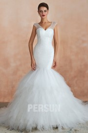 Liona : Mermaid Wedding dress splendid sequined top with frilly skirt