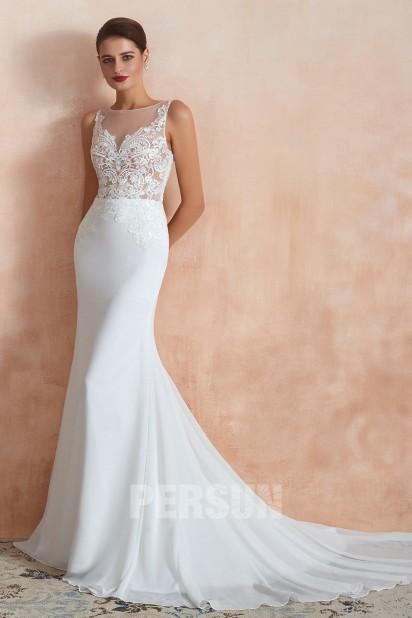 Simona: Mermaid chiffon Wedding Dress 2020 transparent top with guipure